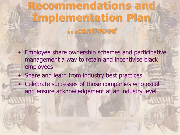 Recommendations and Implementation Plan …