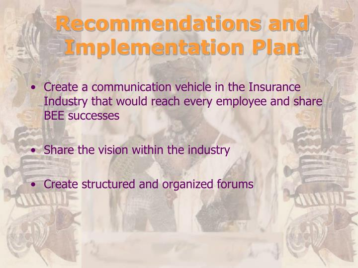 Recommendations and Implementation Plan
