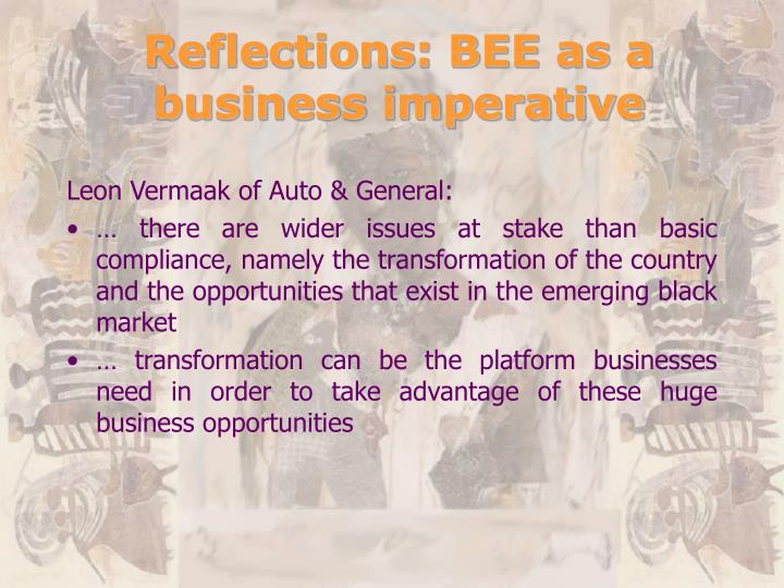 Reflections: BEE as a business imperative