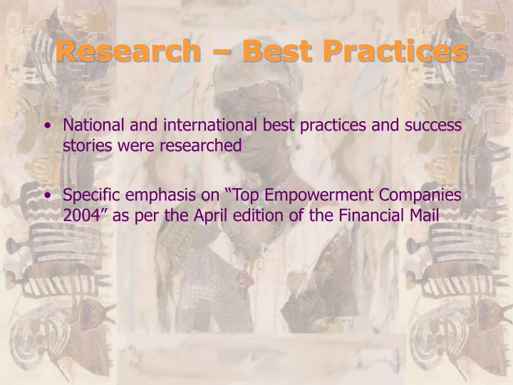 Research – Best Practices