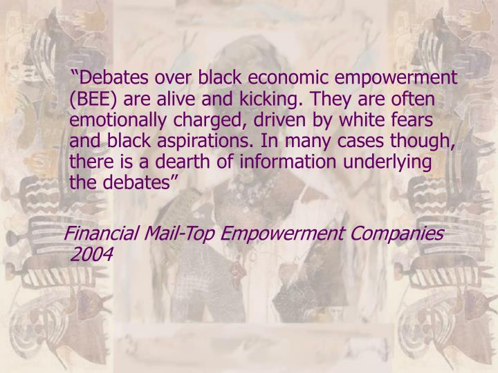 """""""Debates over black economic empowerment (BEE) are alive and kicking. They are often emotionally charged, driven by white fears and black aspirations. In many cases though, there is a dearth of information underlying the debates"""""""