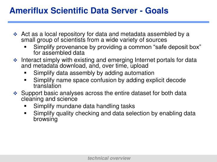 Ameriflux Scientific Data Server - Goals