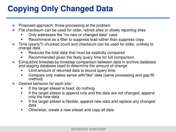 Copying Only Changed Data