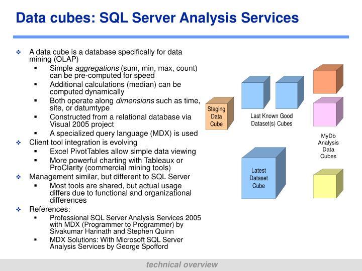 Data cubes: SQL Server Analysis Services