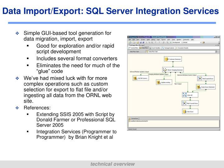 Data Import/Export: SQL Server Integration Services