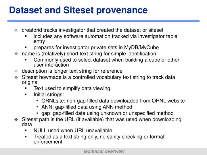 Dataset and Siteset provenance