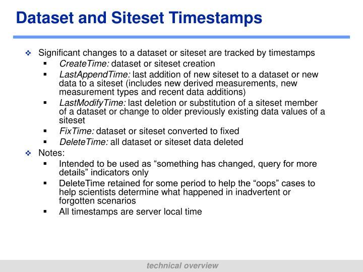 Dataset and Siteset Timestamps