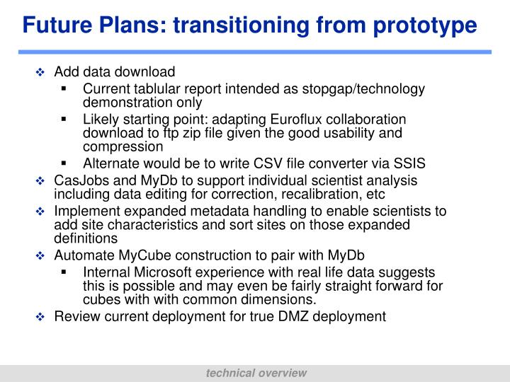 Future Plans: transitioning from prototype