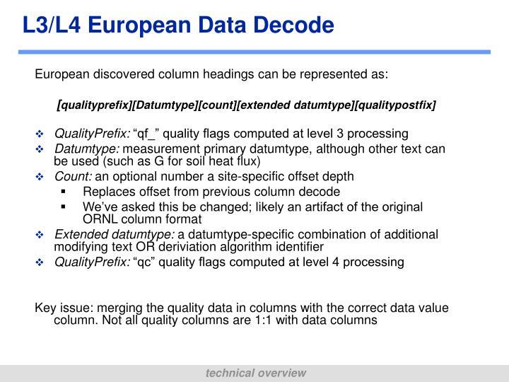 L3/L4 European Data Decode