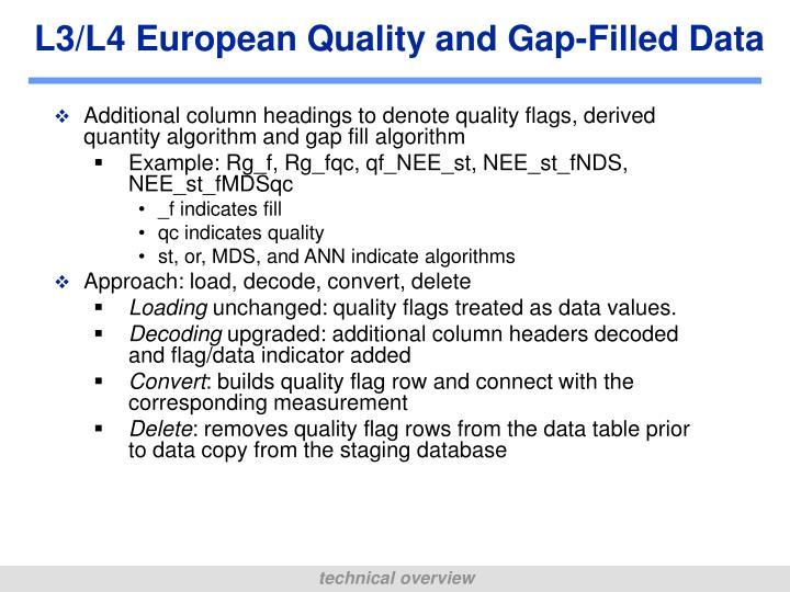 L3/L4 European Quality and Gap-Filled Data