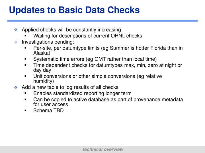 Updates to Basic Data Checks