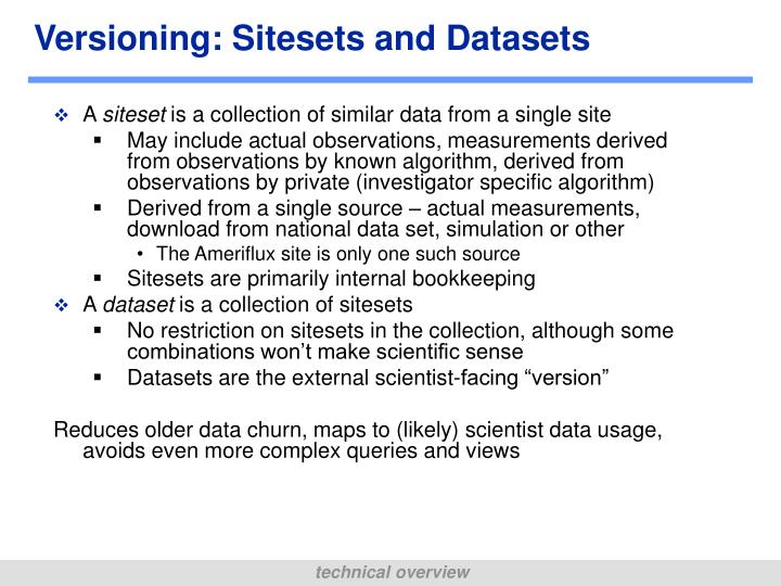 Versioning: Sitesets and Datasets