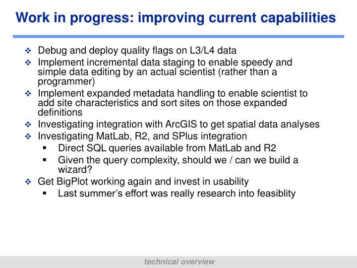 Work in progress: improving current capabilities