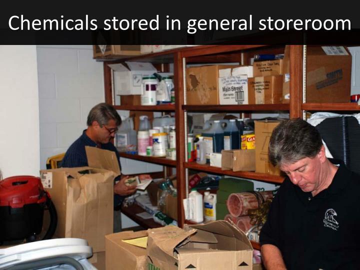 Chemicals stored in general storeroom