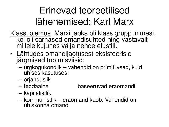 Erinevad teoreetilised lähenemised: Karl Marx