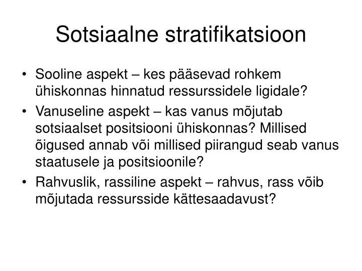 Sotsiaalne stratifikatsioon