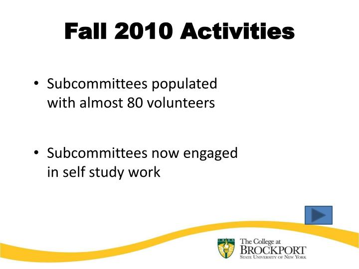 Fall 2010 Activities