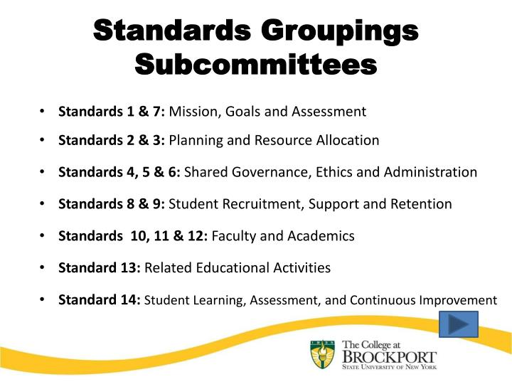 Standards Groupings Subcommittees