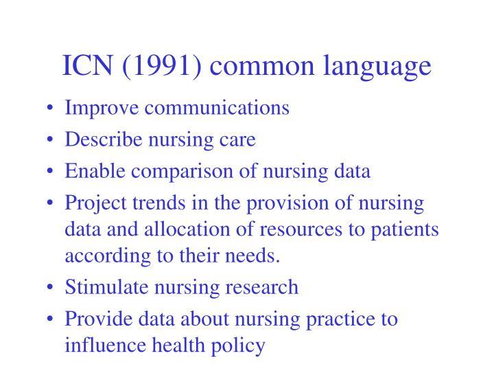 ICN (1991) common language