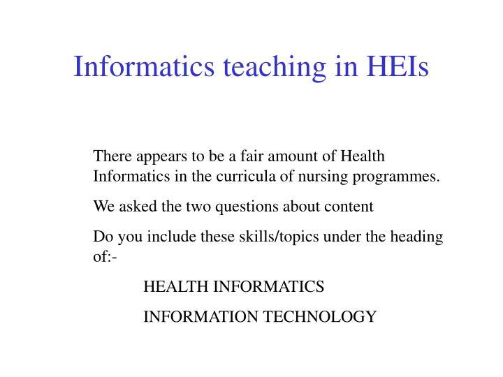 Informatics teaching in HEIs