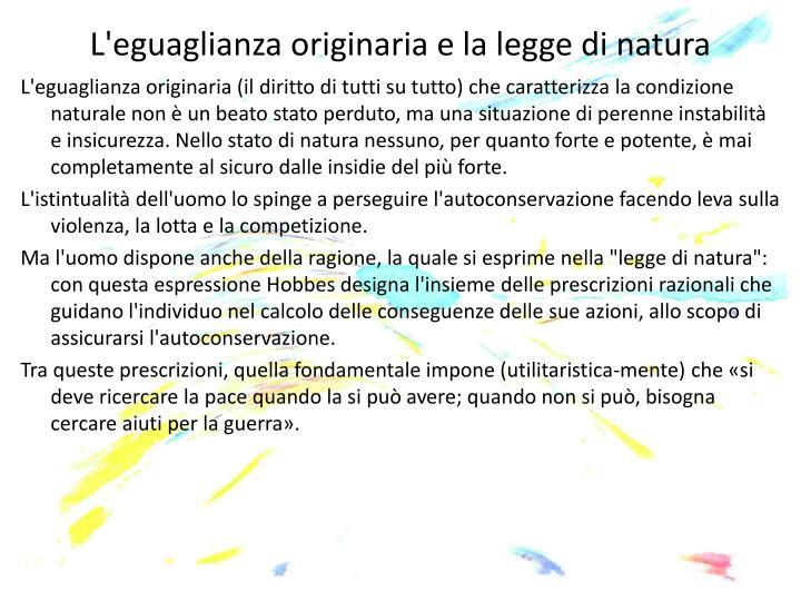 L'eguaglianza originaria e la legge di natura