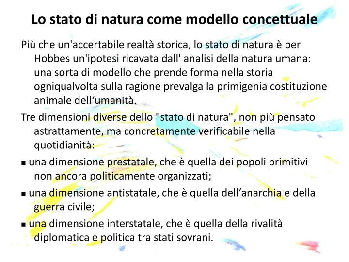 Lo stato di natura come modello concettuale