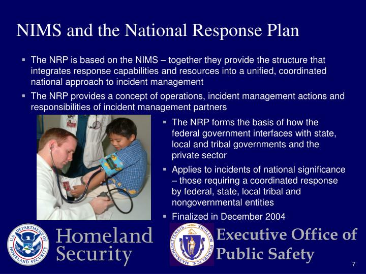 NIMS and the National Response Plan