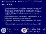 nims fy 2005 compliance requirements state level