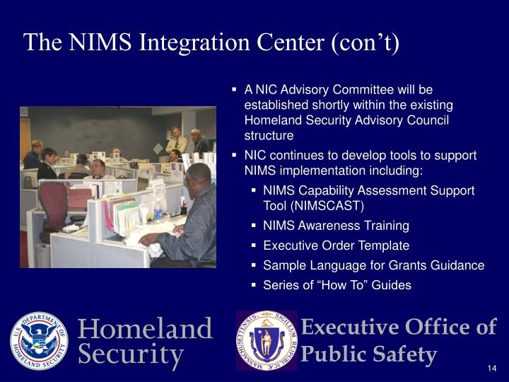 The NIMS Integration Center (con't)