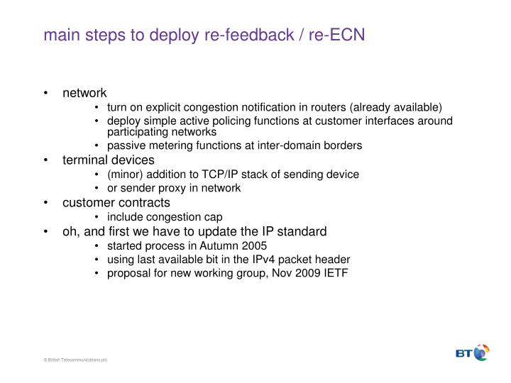 main steps to deploy re-feedback / re-ECN