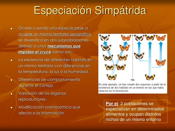 Especiación Simpátrida