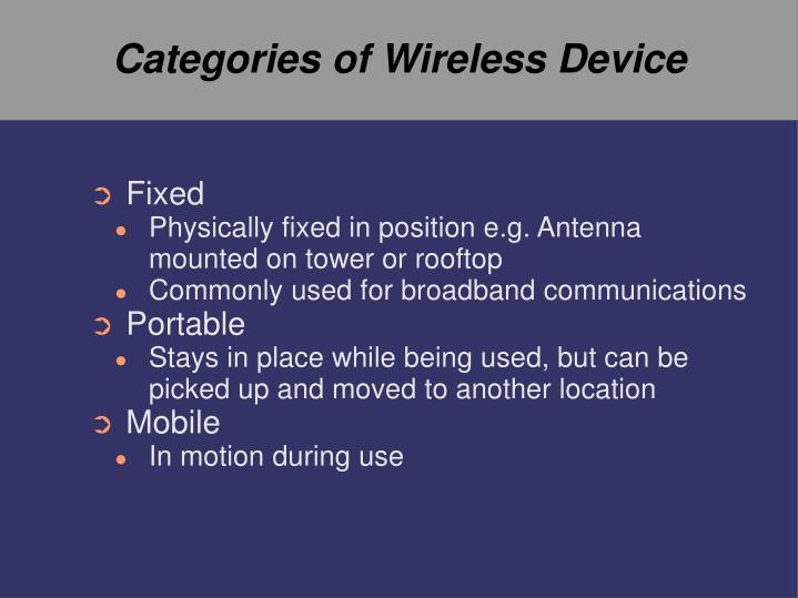 Categories of wireless device