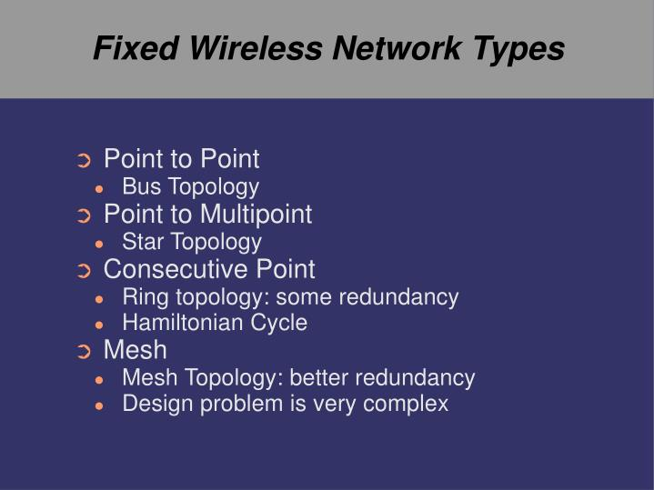 Fixed wireless network types