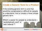 create a generic term for a product1