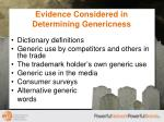 evidence considered in determining genericness