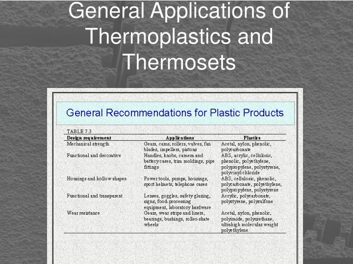 General Applications of Thermoplastics and Thermosets