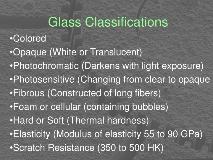 Glass Classifications