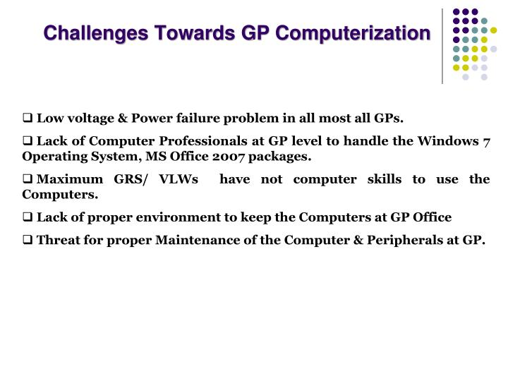 Challenges Towards GP Computerization