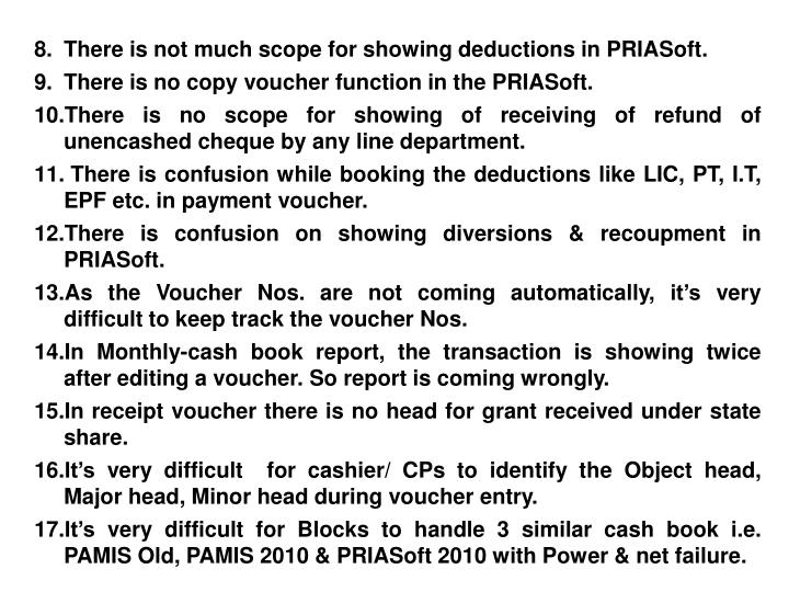 There is not much scope for showing deductions in PRIASoft.