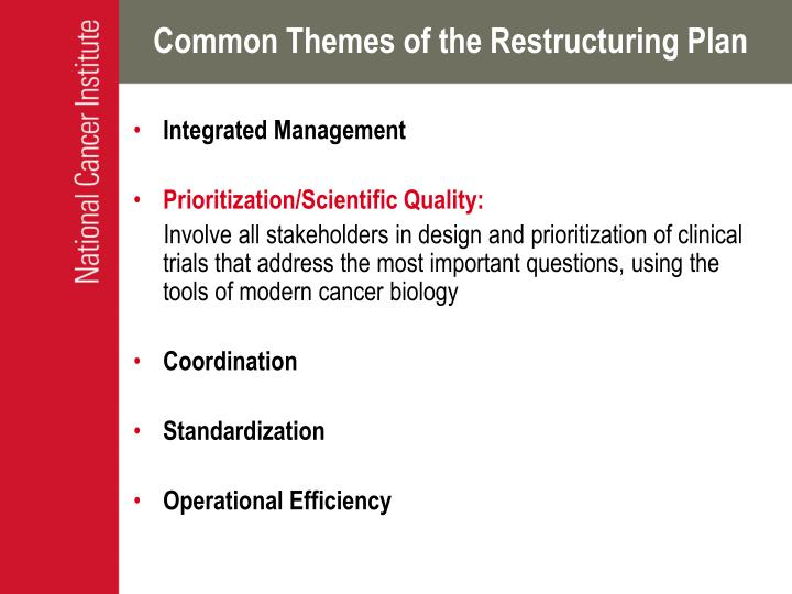 Common Themes of the Restructuring Plan