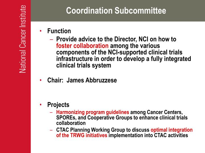 Coordination Subcommittee