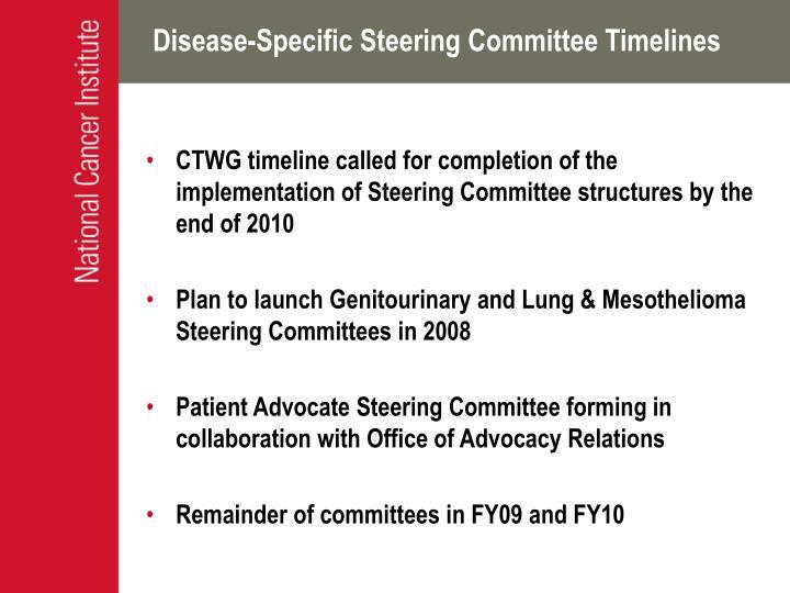 Disease-Specific Steering Committee Timelines