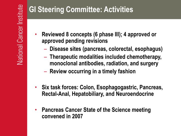 GI Steering Committee: Activities