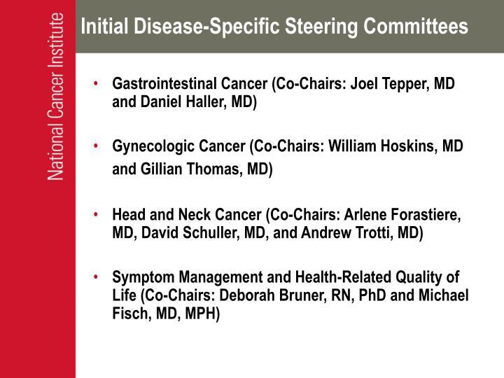 Initial Disease-Specific Steering Committees