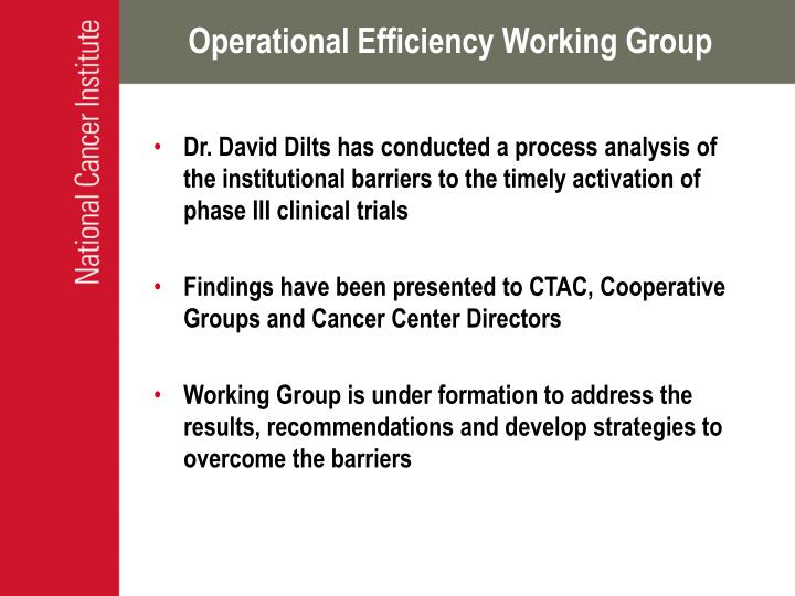 Operational Efficiency Working Group