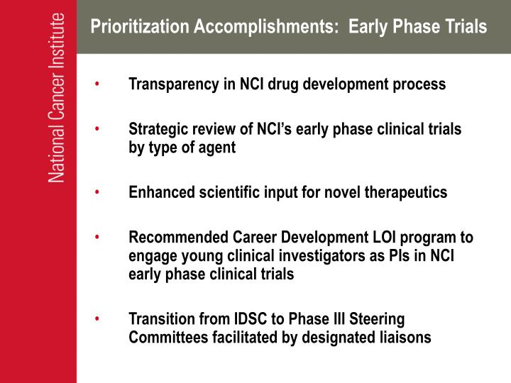 Prioritization Accomplishments:  Early Phase Trials