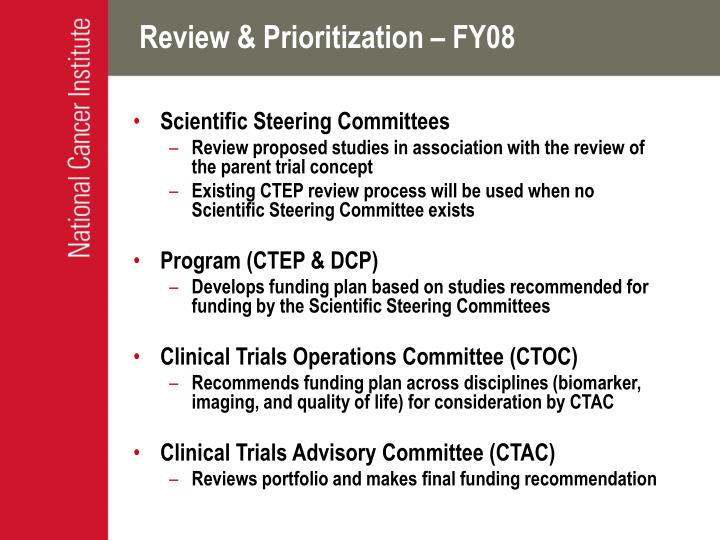 Review & Prioritization – FY08