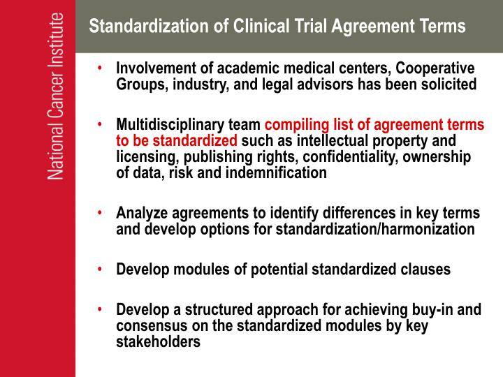 Standardization of Clinical Trial Agreement Terms