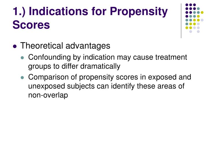 1.) Indications for Propensity Scores