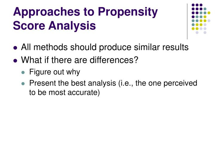 Approaches to Propensity Score Analysis